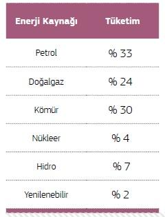 Dünyada Enerji Kaynaklarının Tüketim Oranları